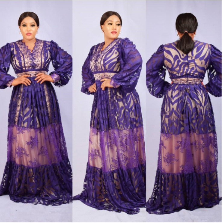 Purple Net Maxi Gown